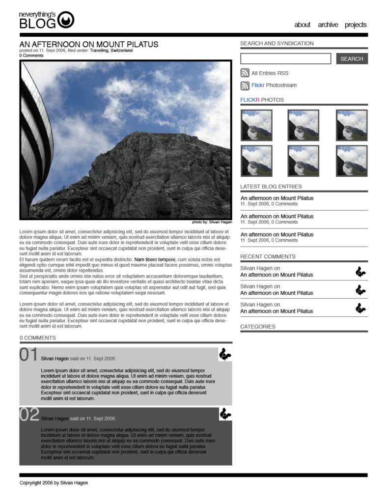 Screenshot von einem Blog Design das ungefähr so umgesetzt wurde. Aus dem Jahr 2006